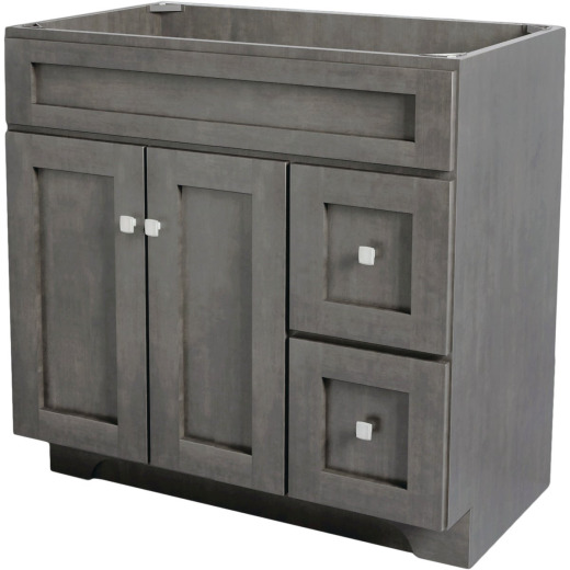 CraftMark St. Paul Designer Gray Stained 36 In. W x 34 In. H x 21 In. D Vanity Base, 2 Door/2 Drawer