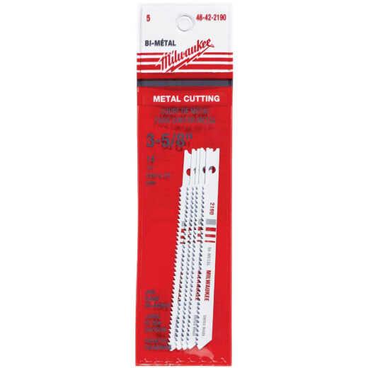 Milwaukee U-Shank 3-5/8 In. x 14 TPI Bi-Metal Jig Saw Blade, Metal Cutting (5-Pack)